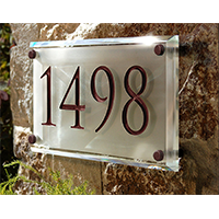 Engraved Crystal Address Plaque by Clarus Crystal
