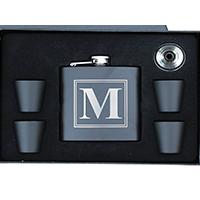 Personalized Black Matte Flask Set