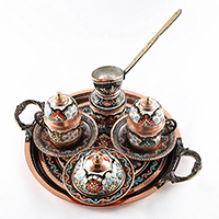 Traditional Design Handmade Copper Turkish Coffee Pot Set