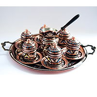 Turkish Luxury Hand Painted Copper Coffee & Espresso Set