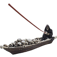 Home-n-Gifts Scary Grim Reaper in Fishing Boat Incense Holder