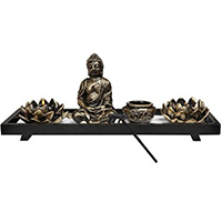 MyGift Home Zen Garden Set - Buddha Statue Lotus Tea