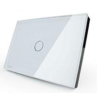 White Crystal Glass Panel Light Switch by NIMTEK